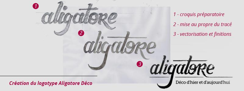 etapes de création du logo Aligatore Déco